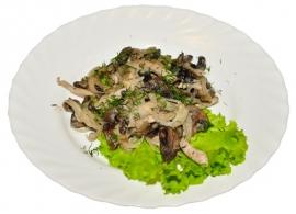 Свинина, жаренная с грибами